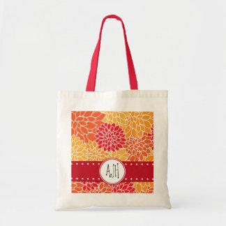 Su nombre - flores florecientes de la dalia - rojo bolsa de mano