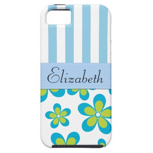 Su nombre - flores, pétalos, flores - azulverde iPhone 5 carcasas