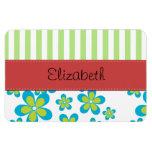 Su nombre - flores, pétalos, rayas - azulverde iman rectangular