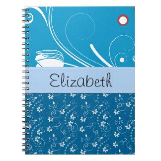 Su nombre - hojas, remolinos rizados - blanco azul libros de apuntes