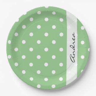 Su nombre - lunares (modelo punteado) - verde plato de papel 22,86 cm
