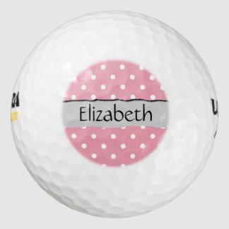 Su nombre - lunares, puntos - blanco rosado pack de pelotas de golf