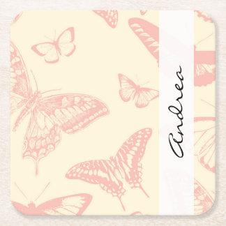 Su nombre - mariposas, insectos - palidezca - el posavasos de cartón cuadrado