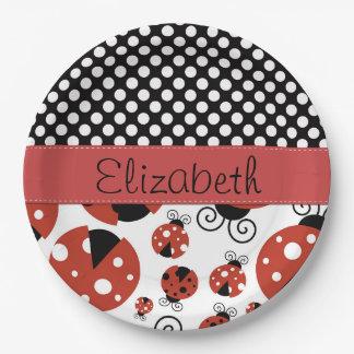 Su nombre - mariquitas, lunares - negro rojo plato de papel de 9 pulgadas