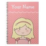 Su nombre + Niña linda (rosa) Cuadernos