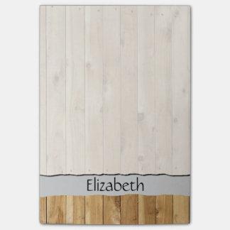 Su nombre - pared del granero hecha de tablones de nota post-it