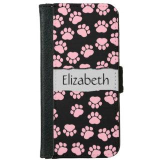 Su nombre - patas del perro, rastros - negro carcasa de iPhone 6