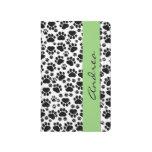 Su nombre - patas del perro, rastros - verde negro cuadernos
