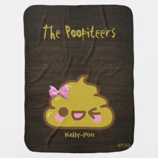 Su nombre + Poo - Kawaii divertido Poopiteers Mantita Para Bebé