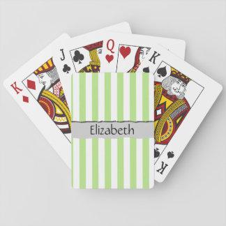 Su nombre - rayas, líneas paralelas - blanco verde barajas de cartas