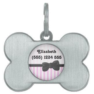 Su nombre - rayas (líneas paralelas) - gris rosado placa de mascota
