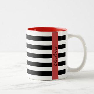 Su nombre - rayas, líneas paralelas - negro blanco taza de café de dos colores