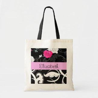 Su nombre - remolinos, flor - rosa blanco negro bolsas