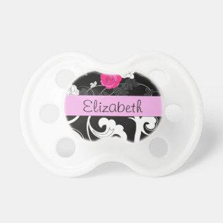Su nombre - remolinos, flor - rosa blanco negro chupete de bebé