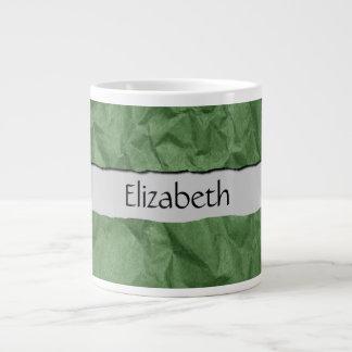 Su nombre - verde de papel arrugado arrugado de la taza grande