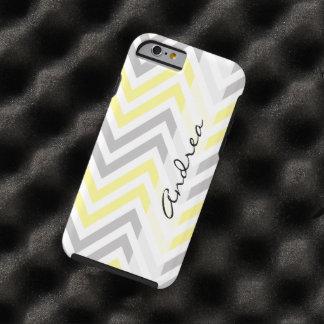 Su nombre - zigzag (Chevron) - blanco gris Funda De iPhone 6 Tough