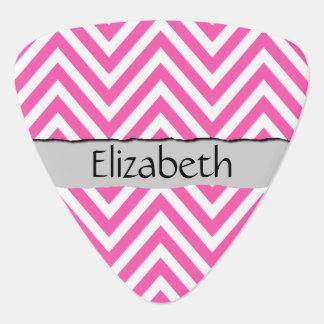 Su nombre - zigzag (Chevron) - blanco rosado Púa De Guitarra