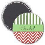 Su nombre - zigzag (Chevron) - blanco verde rojo Imán Para Frigorífico