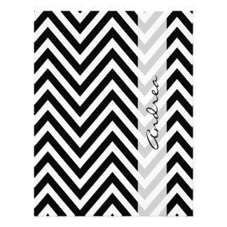 Su nombre - zigzag (Chevron) - negro blanco Tarjetas Publicitarias