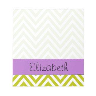 Su nombre - zigzag Chevron - púrpura blanca verd