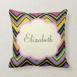 Su nombre - zigzag (Chevron) - rosa azulverde Almohada