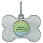 Su nombre - zigzag (Chevron) - verde azul blanco Placa De Mascota