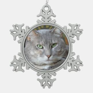 Su ornamento del copo de nieve de la foto del gato adorno de peltre en forma de copo de nieve