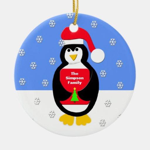 Su ornamento del navidad de la familia -- Pingüino Ornatos
