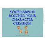 Su padre remendado su creación del carácter tarjeta