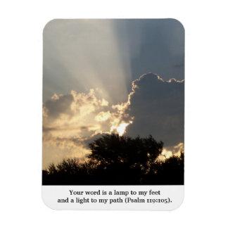 Su palabra es dedos de una lámpara de dios rectangle magnet