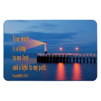 Su palabra es un verso de la biblia del 119:105 imanes