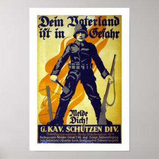 Su patria está en el peligro (blanco) póster