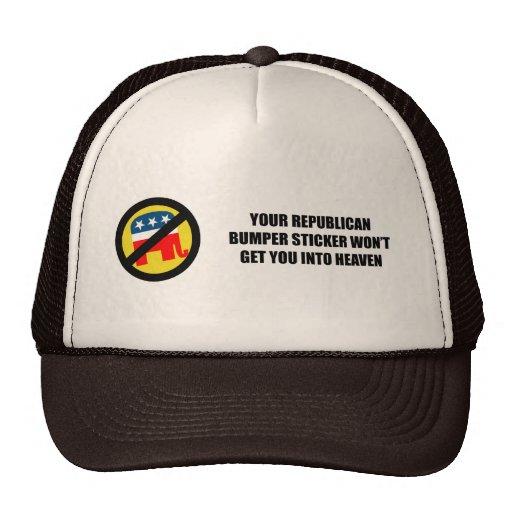 Su pegatina para el parachoques republicana no le  gorra