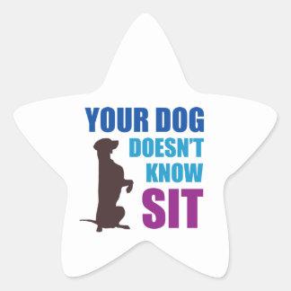 Su perro no sabe se sienta colcomanias forma de estrella personalizadas