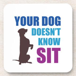 Su perro no sabe se sienta posavaso