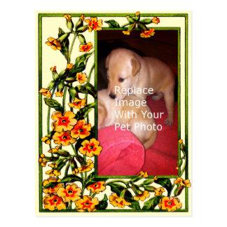 Su plantilla floral del marco de la foto del postal
