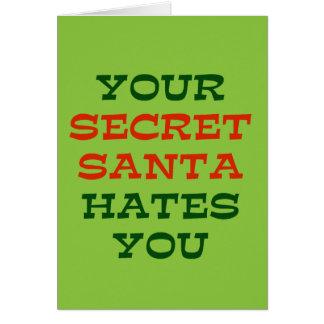 Su Santa secreto le odia Tarjeta De Felicitación