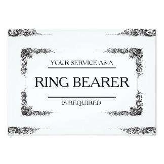 """Su servicio se pide como portador de anillo invitación 5"""" x 7"""""""