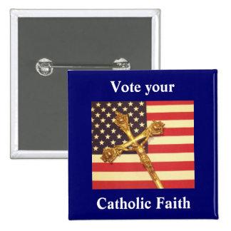 Su su botón católico del cuadrado de la fe pin
