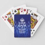 Su texto encendido guarda calma en el azul que com baraja de póquer