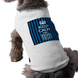 Su texto encendido guarda rayas azules tranquilas playera sin mangas para perro