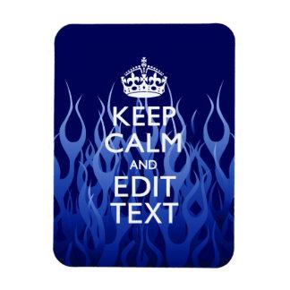 Su texto para guarda calma en el azul que compite imán de vinilo