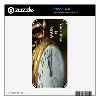 su tiempo ahora es piel del iPhone 4 Calcomanías Para El iPhone 4