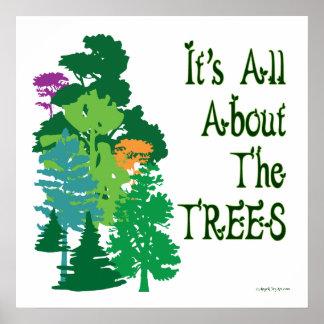 Su todo alrededor el poster verde del lema de los
