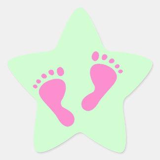 Su un chica - fiesta de bienvenida al bebé, recién pegatina en forma de estrella