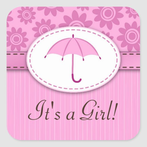 ¡Su un chica! Pegatinas rosados del estampado de Pegatina Cuadrada