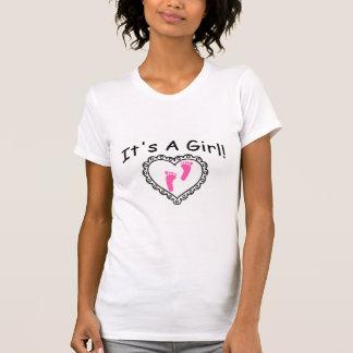 Su un corazón de los rosas bebés del chica camisetas