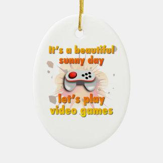 Su un día hermoso - juguemos a los videojuegos adorno navideño ovalado de cerámica