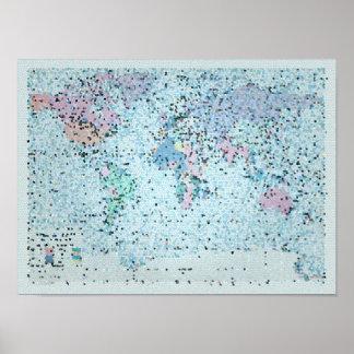 Su un mapa del mundo hermoso póster