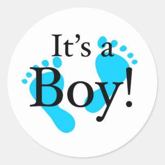 Su un muchacho - bebé, recién nacido, celebración pegatina redonda
